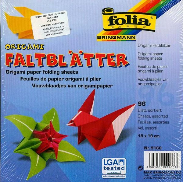 Origami papír na výrobu květin - 19 x 19 cm, 96 archů