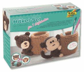 """Sada na háčkování - """"Stojánek na tužky"""" - motiv opice nebo medvěd"""