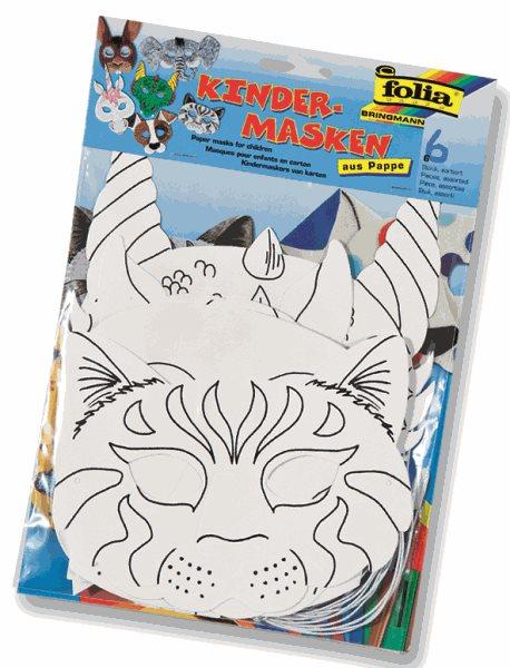 Papírové masky pro následnou dekoraci - pes, kočka, kůň, slon, zajíc, drak, Sleva 15%