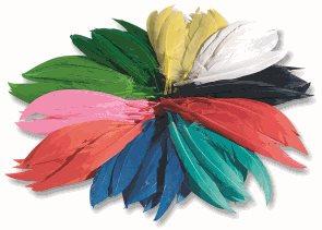 Indiánská barevná pera - 10-20 cm, 100 g