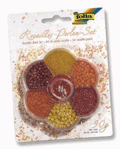 Rokajlové korálky - žlutá/červená, 90 g