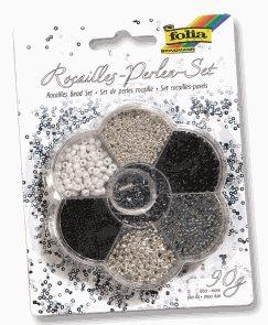Rokajlové korálky - stříbrná/černá, 90 g