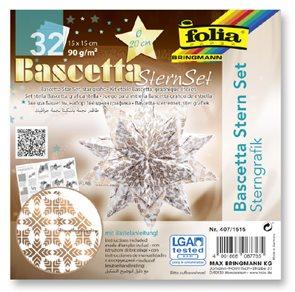 Bascetta - hvězda, 90 g/m2 - bílá/měděná