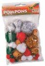 Folia Dekorativní Pom-pom kuličky se třpytkami 30 ks - vánoční mix
