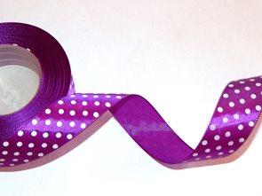 Stuha saténová s puntíky - fialová (12 mm x 32 m)