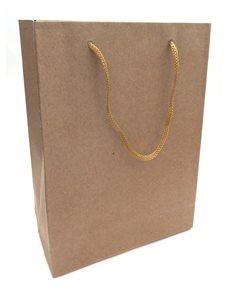 Dárková papírová taška, (19,7x14,8x5,8cm) - přírodní hnědá