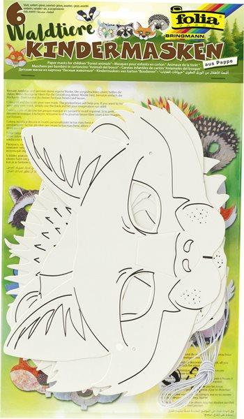 Papírové masky pro následnou dekoraci - Lesní zvířata, 6 motivů