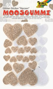 Folia samolepky pěnové - třpytivé srdce