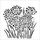 Plastová šablona - Cibulové květy ( 15,24 x 15,24 cm )