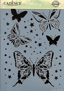 Plastová šablona Cadence - Motýlci ve hvězdách( 21 x 30 cm )