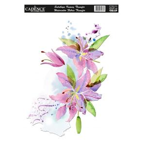 Nažehlovací obrázek na textil Cadence - akvarelová lilie, 25 x 35 cm