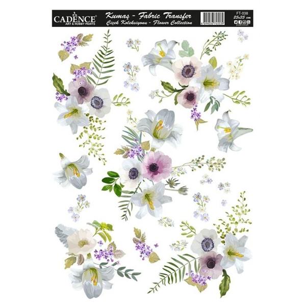 Nažehlovací obrázek na textil Cadence - sasanky, 25 x 35 cm