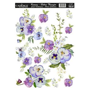 Nažehlovací obrázek na textil Cadence - macešky, 25 x 35 cm