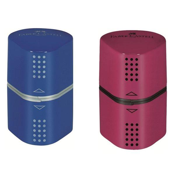Ořezávátko Faber-Castell Grip 2001 Trio Grip - malinová/modrá