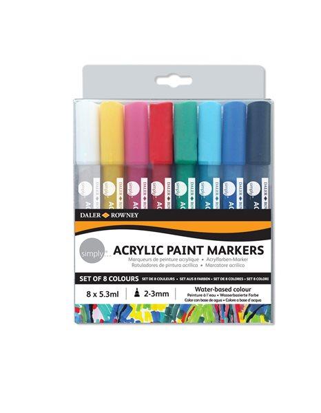 Sada akrylových popisovačů - 8 barev