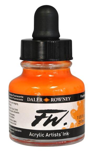 Umělecká akrylová tuš Daler Rowney 29,5 ml - Fluo Orange
