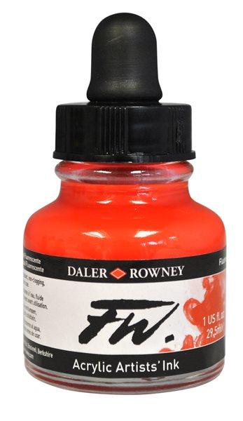 Umělecká akrylová tuš Daler Rowney 29,5 ml - Fluo Red