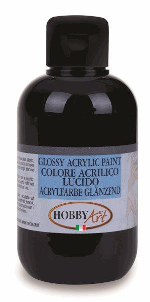 Akrylová barva Hobby Art, lesklá 250ml - černá