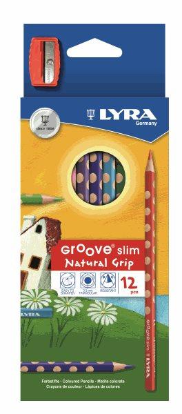 Pastelky Lyra GROOVE Slim, trojhranné, 12 ks + ořezávátko