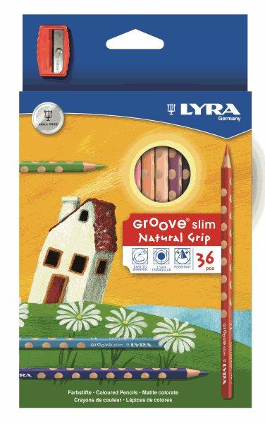 Pastelky Lyra GROOVE Slim, trojhranné, 36 ks + ořezávátko