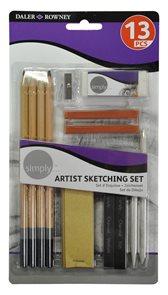 Sada Daler-Rowney SIMPLY - skicovací tužky, úhly a příslušenství (13 ks)