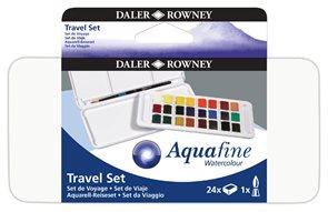 Sada akvarelových barev Daler-Rowney - cestovní box - 24 x 1/2 pánvička + štětec