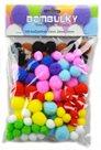 Dekorativní Pom-pom kuličky 100 ks - velikosti 15, 20, 25 mm, barevný mix