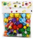 Dekorativní Pom-pom kuličky se třpytkami 78 ks, mix barev a velikostí