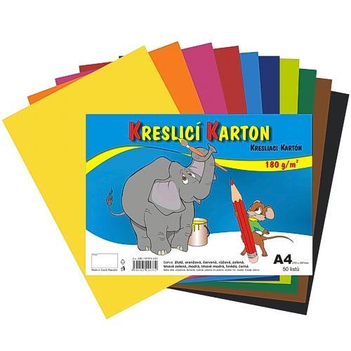 Kreslicí karton barevný A4 - 180g - 50 ks - mix 10 barev
