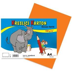 Kreslicí karton barevný A4 -180g - 50 ks - oranžový