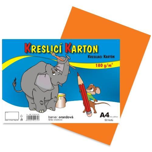 Kreslící karton barevný A4 -180g - 50 ks - oranžový