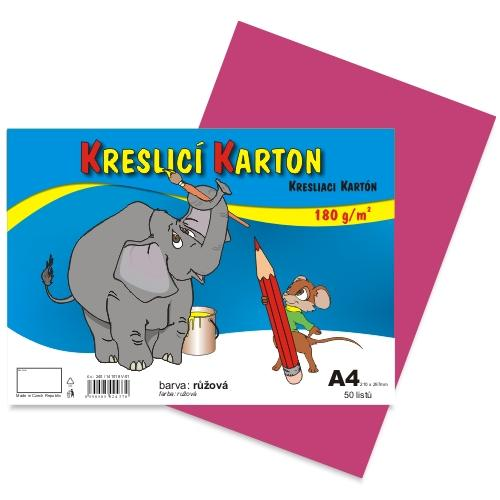 Kreslící karton barevný A4 -180g - 50 ks - růžový