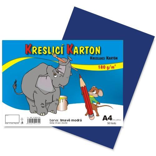 Kreslící karton barevný A4 -180g - 50 ks - tmavě modrý