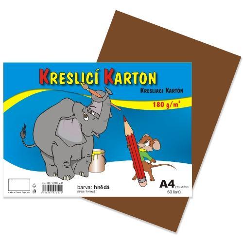 Kreslící karton barevný A4 -180g - 50 ks - hnědý