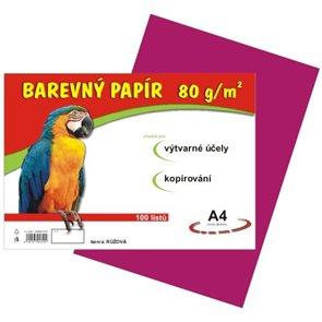 Barevný papír A4 80 g - 100 ks - růžový