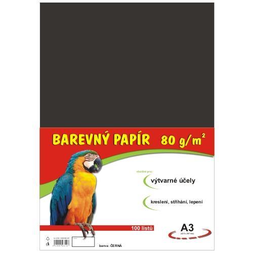Barevný papír A3 80g - 100 ks - černý