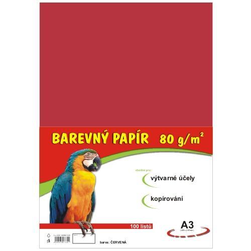 Barevný papír A3 80g - 100 ks - červená
