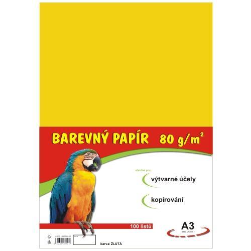 Barevný papír A3 80g - 100 ks - žlutý