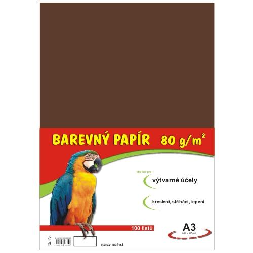 Barevný papír A3 80g - 100 ks - hnědý