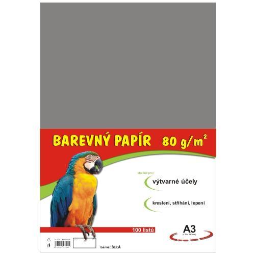 Barevný papír A3 80g - 100 ks - šedý