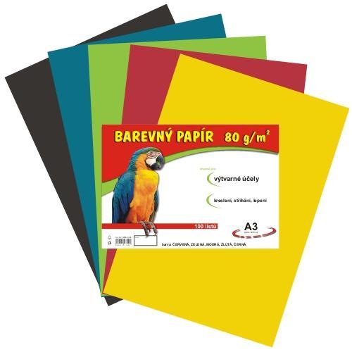 Barevný papír A3 80g - 100 ks - 5 barev