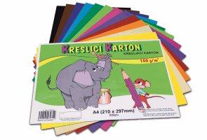 Kreslicí karton barevný A4 180g - 60 ks - 12 barev