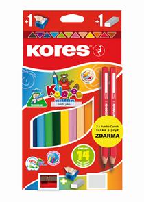 Kores Jumbo trojhranné pastelky 5 mm, 12 barev s ořezávátkem + 2 tužky a pryž ZDARMA
