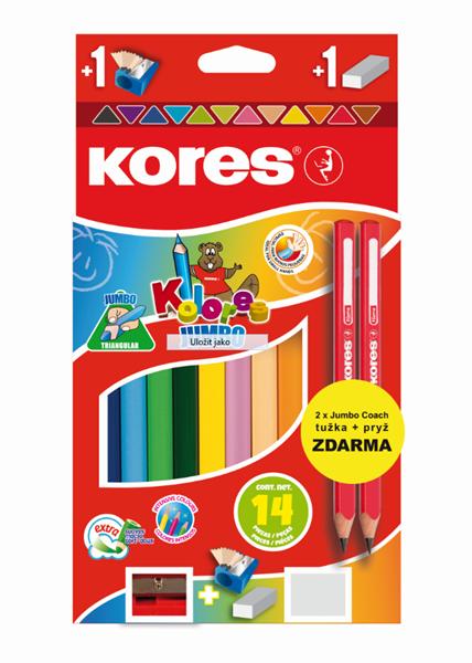 Kores Jumbo trojhranné pastelky, + 2 tužky a pryž ZDARMA