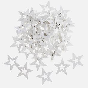 Dekorační dřevěné ozdoby - Hvězdy bílé (50 ks)