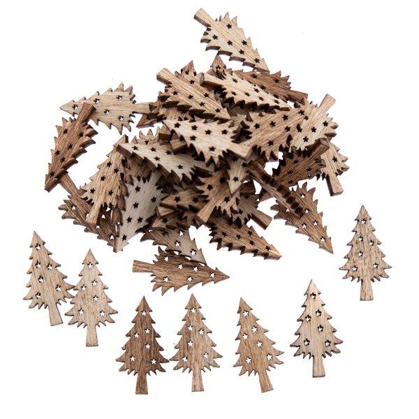 Dekorační dřevěné ozdoby - Stromečky přírodní