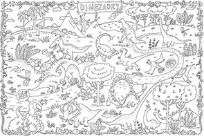 Omalovánky XXL 120 x 80 cm - Dinosauři