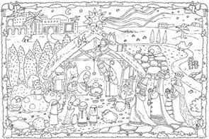 Omalovánky XXL 120 x 80 cm - Vánoční betlém