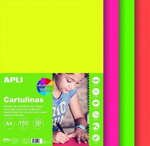 APLI Sada barevných papírů, A4, 170 g, 50 listů, mix fluo barev