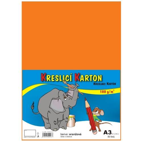 Kreslicí karton barevný A3 - 180g - 50 ks - oranžový